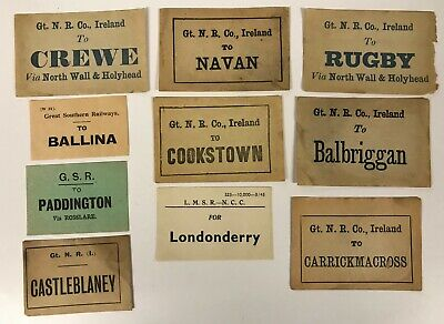 Irish Railway luggage labels Navan Balbriggan Casleblaney Cookstown [18548]