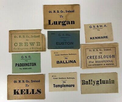Irish Railway luggage labels Lurgan Ballina Kells Templemore [18550]