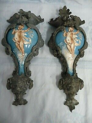 MAGNIFICENT PAIR OF ANTIQUE WALL SCONCE URNS, PORCELAIN with GOTHIC METAL MOUNTS
