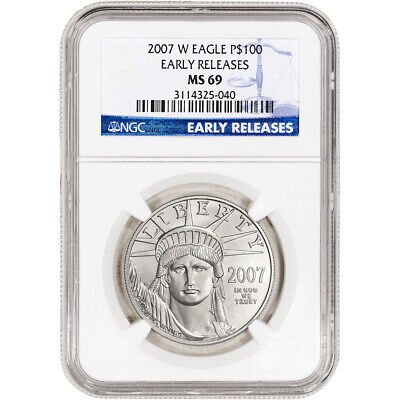 2007-W American Platinum Eagle Burnished 1 oz $100 - NGC MS69 Early Releases