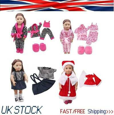 5pcs/Set Gifts Clothes Shoes for 18'' American Girl Dolls Our Generation Pajamas