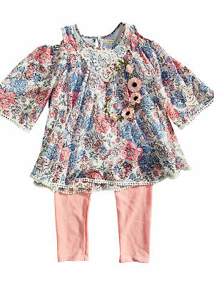 Self Esteem Chiffon Cold Shoulder Flower top w/pink Leggings Set w/ Flower Headb