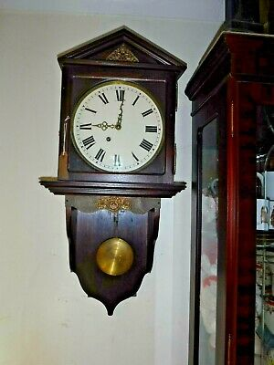 Unusual Fusee  Timepiece Wall Bracket Stand And Free Swinging Visable Pendulum