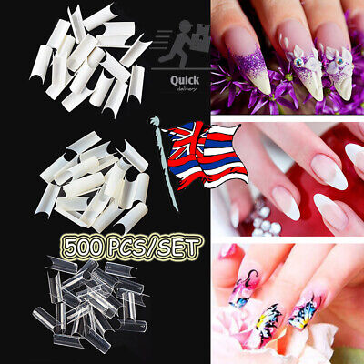 500x Artificial French False Acrylic Nail Art Tips White Clear Natural UV Gel