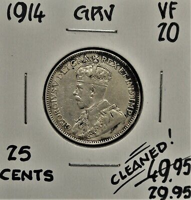 1914 Canada 25 cents VF *cleaned