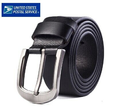Mens Genuine Leather Belt Belts Casual with Pin Buckle Brown Black US Stock
