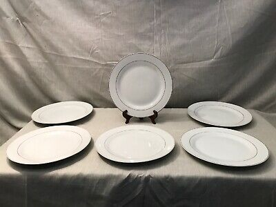Fine Porcelain China CLASSIC Dinner Plates X 6. White with Gold Trim