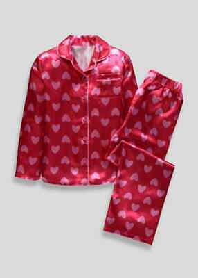 Girls BNWT Valentines red pink satin heart pyjamas age 14  Matalan (AY)