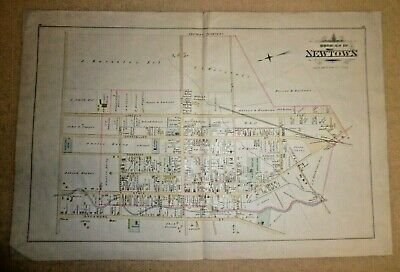 """Antique Map Of The Borough Of Newtown Pennsylvania PA - 30"""" x 20"""""""