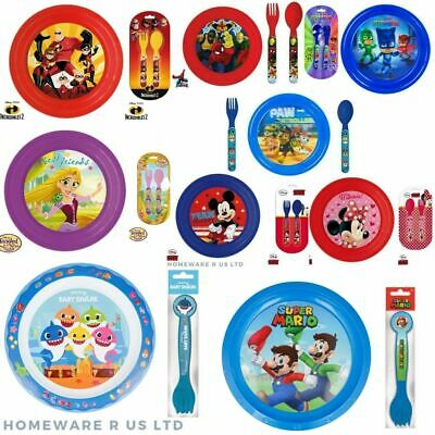 Toddler Childrens Matching Dinner Plates & Cutlery Sets Lunch Meals Plastic