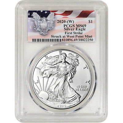 2020-(W) American Silver Eagle - PCGS MS69 - First Strike Red Flag Label