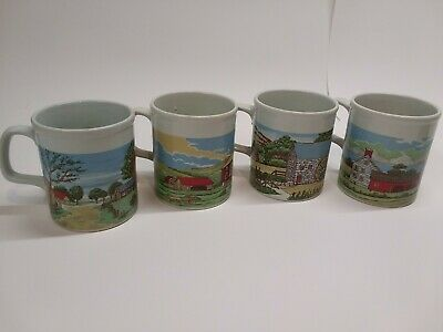 Vintage Coffee Mugs Set of 4 Farm Barn Scenes All Different Marked Japan