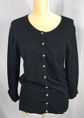 Grace Elements Womens Cardigan Sweater Size Large Black 3/4 Sleeves Rose Buttons