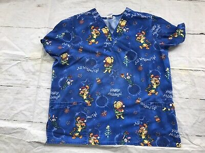 Disney Winnie The Pooh  Christmas All Wrapped Up Happy Holidays Scrub XL