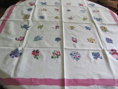 Vintage heavy cotton tableloth small flower bouquets 41 x 46 inches