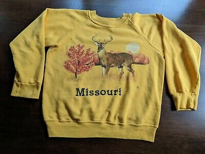 Vintage 80s Yellow BASSETT WALKER Missouri Outdoor Graphic Sweatshirt, Size S