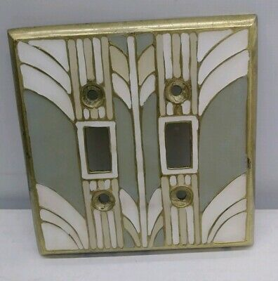 Brass Enamel Double Light Switch Plate Cover Art Deco Nouveau