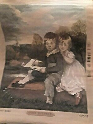 Needlepoint Canvas Partially Worked:  Les enfants Bowden,  Royal Paris Canvas