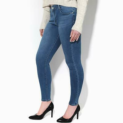 Womens Ladies Skinny Jeans Trousers Plain Denim Mid Rise Lift & Shape