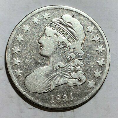 1834 Bust U.S. silver half dollar. Fine, old cleaning.  #ed2