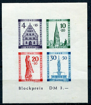BADEN FRENCH OCCUPATION ZONE Mi. #Block 1B mint MNH stamp sheet! CV $90.00