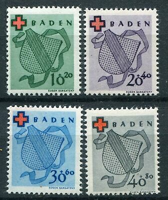 BADEN FRENCH OCCUPATION ZONE Mi. #42A-45A mint stamp set! CV $55.00