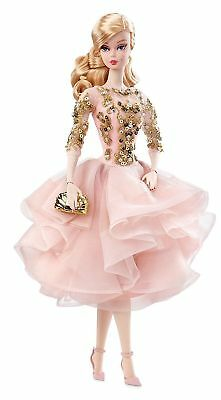 Gold Label Silkstone Barbie Blush & Gold Cocktail Dress DWF55 NEW
