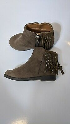 Toddler Girls Size 4 Sued Brown Ankle boots Tassels Chelsea Zip Up Tan Winter...