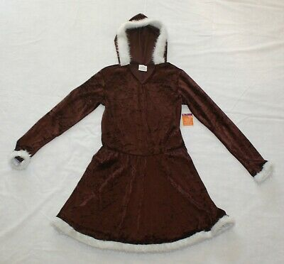 Childs XL Eskimo Costume Dress with Hood Faux Fur Trim New Mittens NOT Included
