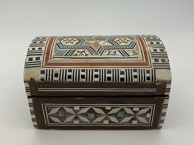Handmade Wooden Jewelry Trinket Box with Inlaid Mother of Pearl
