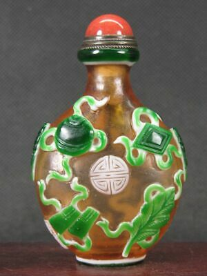 "Chinese ""Qing Qi Shu Hua"" Carved Peking Overlay Glass Snuff Bottle"
