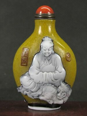 Excellent Chinese Ancient Person Carved Peking Overlay Glass Snuff Bottle