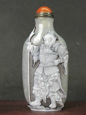 Excellent Chinese Two Ancient General Carved Peking Overlay Glass Snuff Bottle
