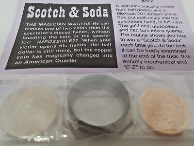 SCOTCH AND SODA-Worlds best magic coin trick precision made Half & Centavo, NEW