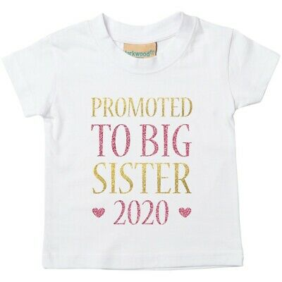 Gold Pink Glitter Middle Sister Toddler T-Shirt Printed Pregnancy Reveal Girls