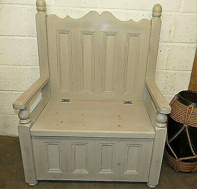 Decorative Painted Pine Settle/Monks Bench