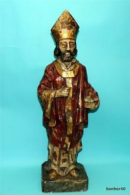 19th CENTURY CARVED WOOD POLYCHROME STATUE FIGURE HOLY MEN PRIEST SINTERKLAAS