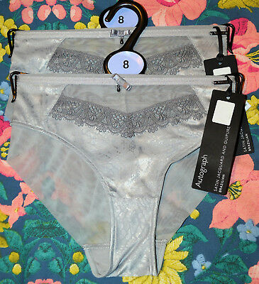 BNWT LADIES M/&S AUTOGRAPH BRAZILIAN KNICKERS WITH CASHMERE 3 PAIR SIZE 28