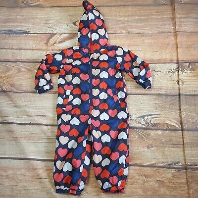 Mini Club Puddle/Rain Suit In a Bag Heart Print All In One 18 Months - 2 Years