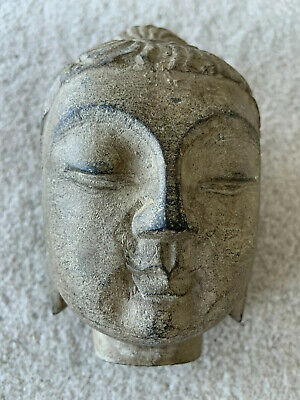 Old Chinese? Asian Carved Stone Gilded Face Head Of Buddha Statue Sculpture