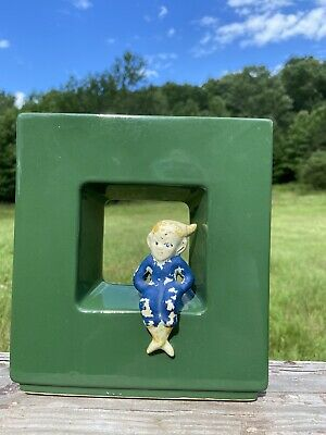 Vintage Green Sitting Pixie Elf Square Wall Pocket MCM Kitsch