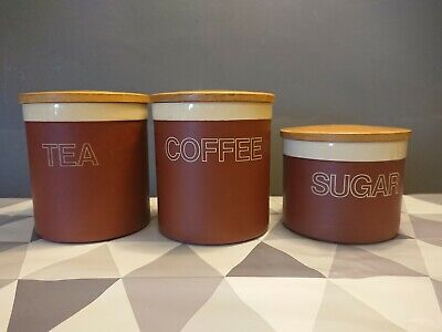 Vtg Retro Hornsea Cinnamon Tea Coffee Sugar Storage Jars Set 1980 Terracotta
