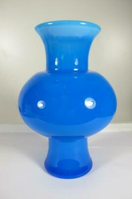 """ANTIQUE BLUE FRENCH OPALINE ART GLASS VASE 9"""" inches 23.5 cm."""
