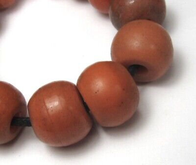 """13 Rare Amazing Old """"Faux"""" Coral Czech Antique Glass Beads African Trade"""