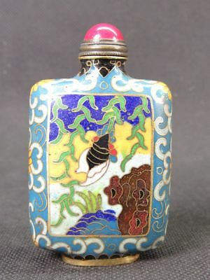 Chinese Two Cicada Pattern Handiwork Cloisonne Snuff Bottle