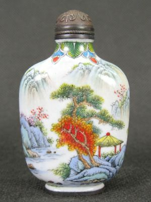 Fine Chinese Scenery Hand Painted Copper Enamel Snuff Bottle