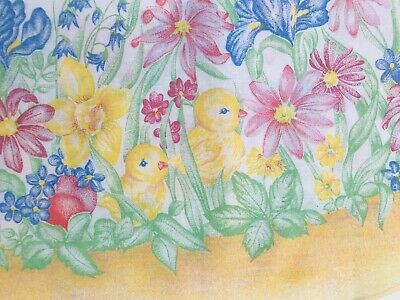 """Easter Spring Floral Kitchen Tablecloth Bunnies & Chicks 85"""" X 63"""" Cotton Brazil"""