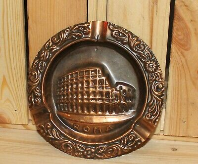 Vintage Italian Rome Colosseum souvenir wall hanging copper plaque