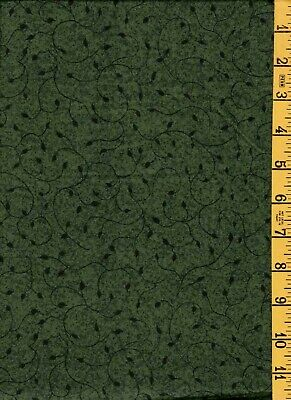 """2YD 35/"""" Cotton Quilting Sewing Fabric Swirling Green Vine Blender"""