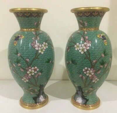 Fine Pair Antique Old Chinese Cloisonne Vases With Plum blossom and butterfly